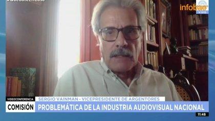 Sergio Vainman, vicepresidente de Argentores en el encuentro con senadores, esta mañana