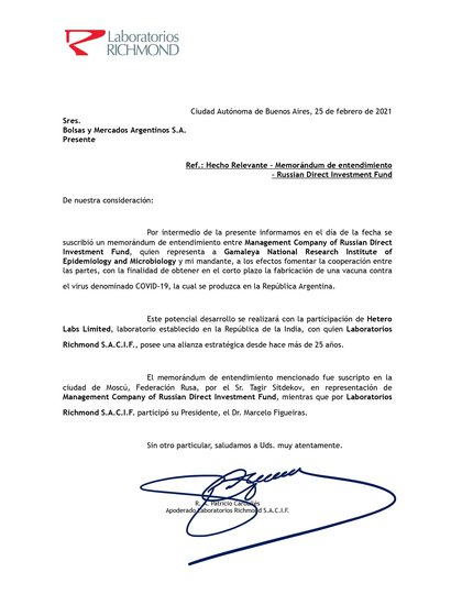 La compañía argentina firmó el 25 de febrero pasado un acuerdo preliminar con el Fondo Ruso de Inversión Directa (RDIF) para construir una planta y ser la pata local en la fabricación de los componentes.