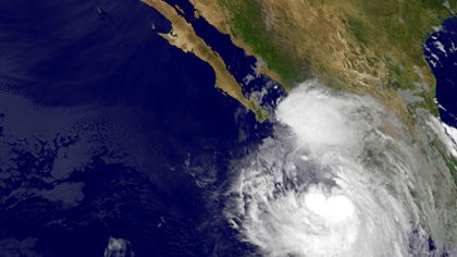 Imagen satelital de la NASA muestra la tormenta tropical Newton (AFP)