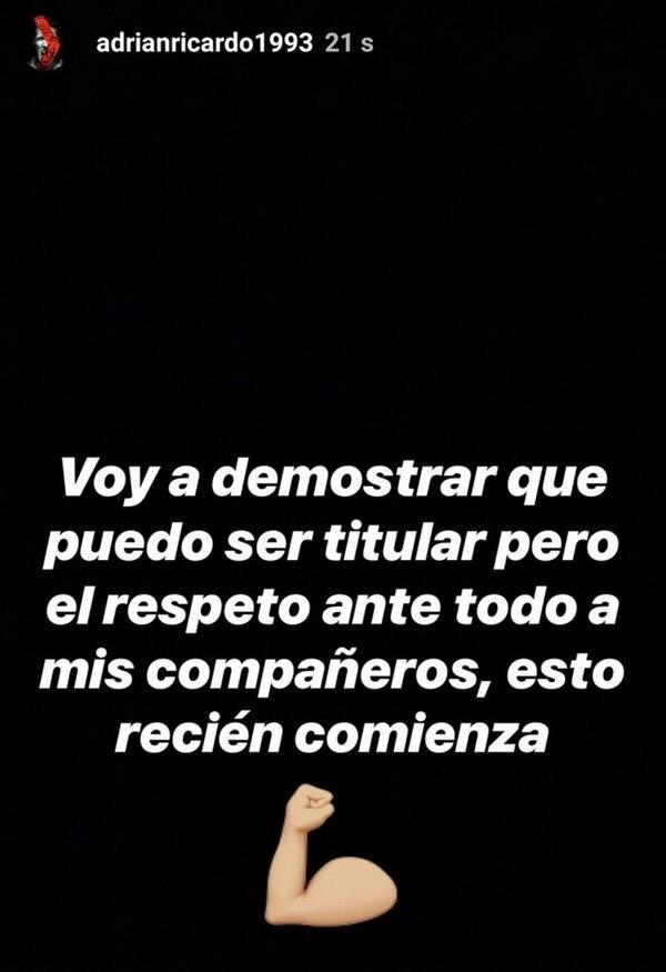 La historia en Instagram que luego borró Ricardo Centurión