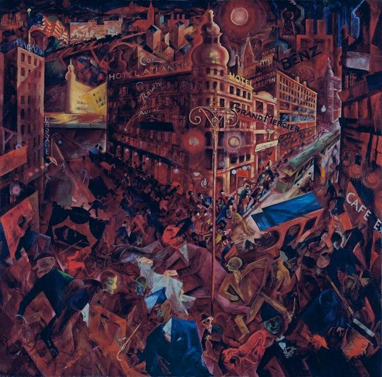 """""""Metrópolis"""" (1916-1917), una de sus obras más reconocidas de su época futurista"""