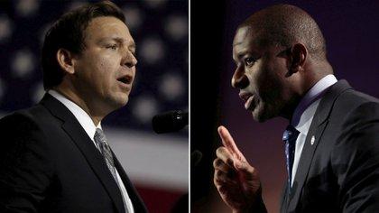 El candidato republicano Ron DeSantis y su contrincante demócrata Andrew Gillum