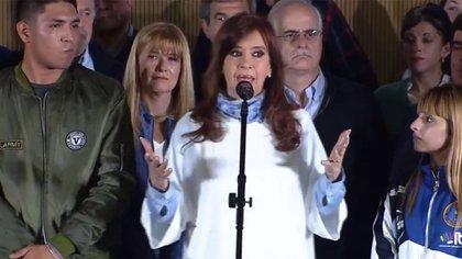 Cristina Kirchner en su cierre de campaña, previo a las PASO, en la Matanza