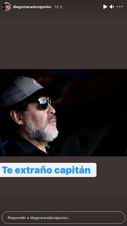 """""""Te extraño capitán"""", le escribió Junior a Maradona"""