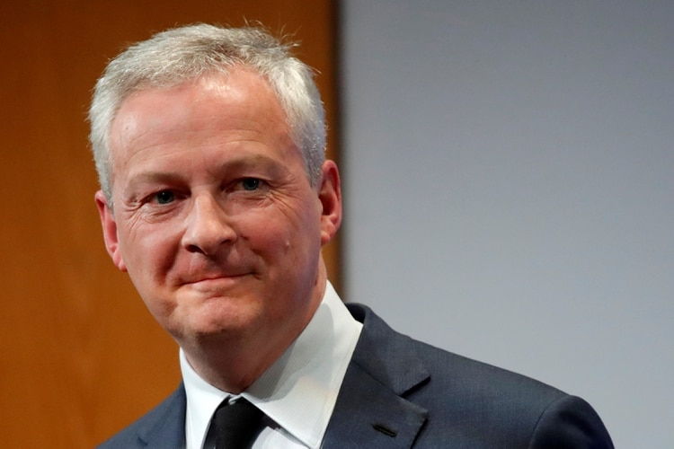 FILE PHOTO: French Finance Minister Bruno Le Maire reacts after his New Year address to France's economic officials and the media at the Bercy Finance Ministry in Paris, France, January 7, 2020. REUTERS/Charles Platiau/File Photo