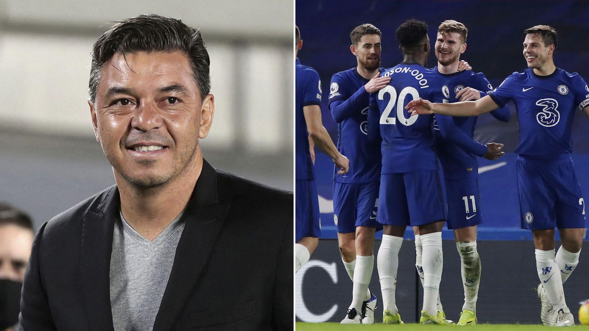 Gallardo y el equipo del Chelsea