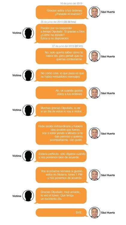 Una conversación revelada por el periodista Carlos Jiménez entre el legislador Saúl Huerta y una de sus víctimas (Gráfico: Infobae México)