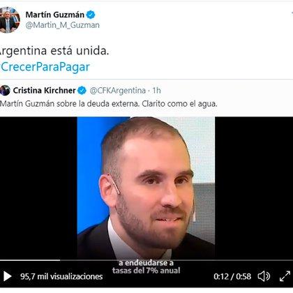 El ministro Guzmán responde y el apoyo de Cristina Kirchner