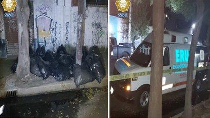 La fiscalía confirmó que los fármacos localizados en las 27 bolsas negras de basura coinciden con los reportados como robados.(Foto: Secretaría de Seguridad Ciudadana)