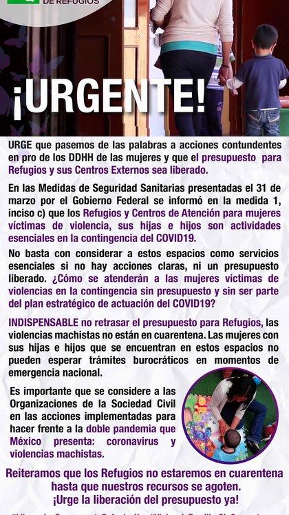 La Red Nacional de Refugios de México pide soluciones urgentes frente a la pandemia de la violencia machista en México agravada por los efectos del Covid-19.