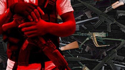 """""""El mercado negro de las armas está entrelazado con el narcotráfico, como dos plantas venenosas que se enredan una con la otra"""", sentenció en investigador.  (Foto arte: Jovani Pérez Silva/ Infobae)"""