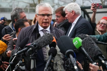 Spanish human rights lawyer, Baltasar Garzon speaks to the media, outside Woolwich Crown Court, in London, Britain, February 24, 2020. REUTERS/Hannah Mckay
