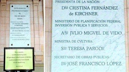 Las placas que se encuentran en el CCK, donde figuran los nombres de Cristina Kirchner, Julio De Vido y José López