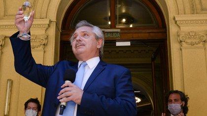 Alberto Fernández brinda por fin de año en la Casa Rosada. (Presidencia de la Nación)