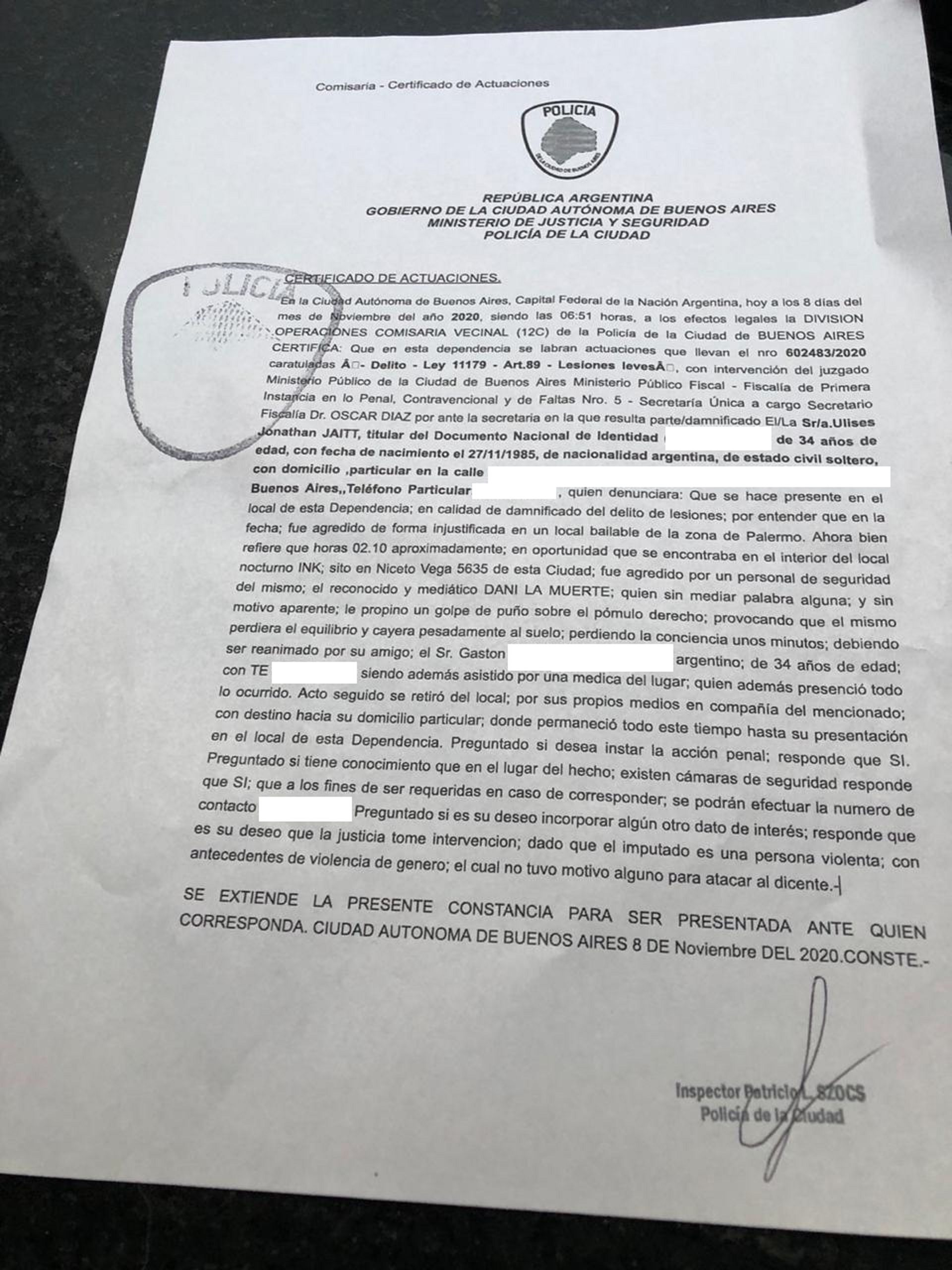 La denuncia policial de Ulises Jaitt contra Dany La Muerte