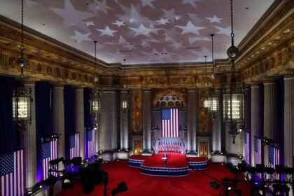Eric Trump, the son of U.S. President Donald Trump, pre-records a speech for the Republican National Convention telecast in the nearly-empty Mellon Auditorium in Washington, U.S. August 25, 2020. REUTERS/Jonathan Ernst