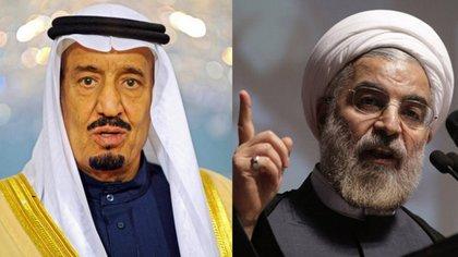 El rey Salmán bin Abdulaziz de Arabia Saudita y Hasan Rohani, presidente de Irán