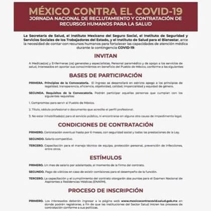 Carta dirigida a la invitación de La Jornada Nacional de Reclutamiento y Contratación de Recursos Humanos para la Salud (Foto: Secretaría de Salud)
