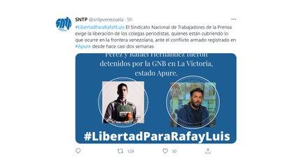 El tuit del Sindicato Nacional de Trabajadores de la Prensa
