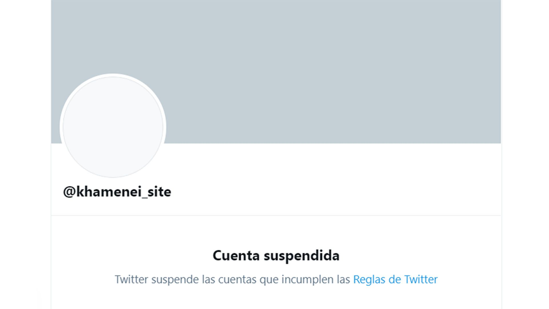 Twitter suspendio una cuenta de Ali Khamenei