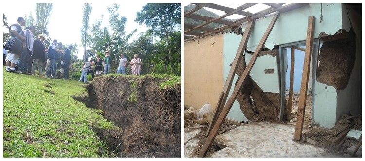 Una falla geológica abrió una grieta de aproximadamente un kilómetro de largo, que dividió al pueblo en dos y derrumbó 485 viviendas. (Fotos Gobernación de Nariño)