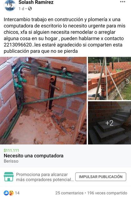 """""""Necesito una computadora"""" era el título de la publicación que compartió en 18 grupos de compra venta de la ciudad de La Plata y localidades aledañas"""