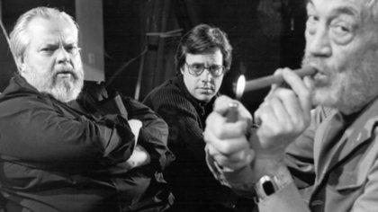 """Orson Welles, Peter Bogdanovich y John Huston durante la filmación de """"El otro lado del viento"""""""