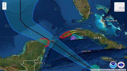 Pista del huracán Delta (Foto: Twitter @ SkyAlertStorm)