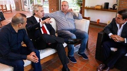 Herrera Ahuad, Alberto Fernández, Passalacqua y Carlos Rovira en Misiones, cuando viajó de campaña presidencial.