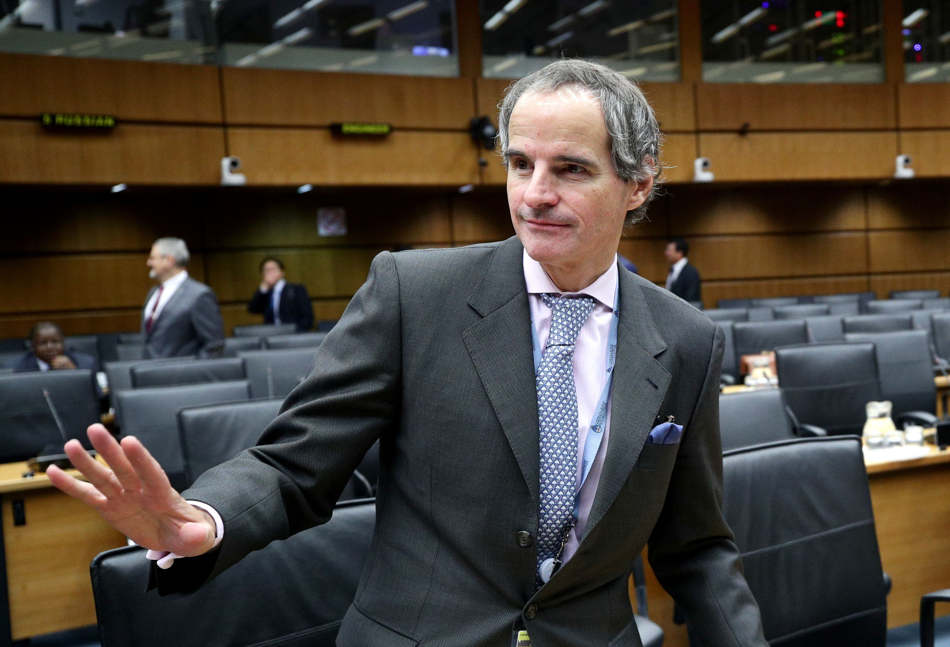 Rafael Grossi, al participar de una de las reuniones de la Organismo Internacional de Energía Nuclear. (Reuters/Lisi Niesner)