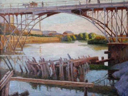 """""""Puente Alsina"""", 1914. Óleo sobre tela, 96 x 112 cm, en el Museo de Artes Plásticas """"Eduardo Sívori"""""""