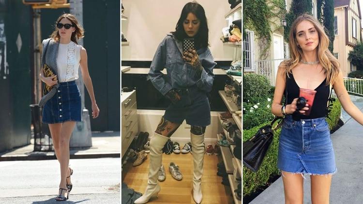 45bfee9356 Minifalda de jean  la prenda comodín que todas las it girls e ...