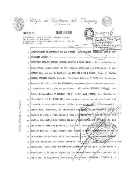 Acta Consituttiva de GTG Group en     Paraguay