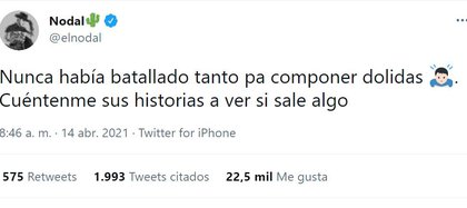 With this tweet, the singer from Sonora asked his fans for help to be able to write (Capture: Twitter)