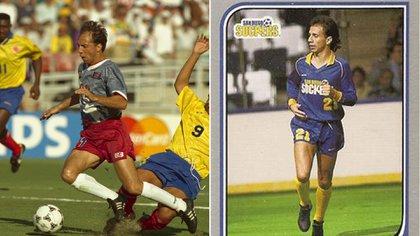 Clavijo con la selección de Estados Unidos en el Mundial 94 y en San Diego del indoor (Foto: Reuters)