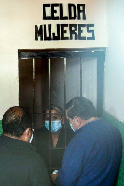 La ex presidenta Jeanine Añez, detenida en una prisión en La Paz, Bolivia, el 13 de marzo de 2021 (AFP)