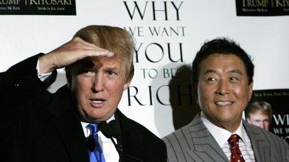 Trump y Kiyosaki juntos en la presentación del libro que redactaron juntos