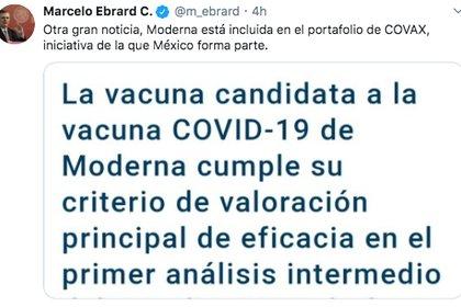 Marcelo Ebrard, titular de la SRE, destacó que la vacuna de Moderna está incluida en el mecanismo COVAX, del cual México forma parte (Foto: Twitter)