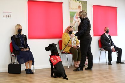 A general view of a demonstration showcasing how a dog could learn to detect the coronavirus disease (COVID-19) during a visit by Camilla, Duchess of Cornwall, at a charity's training centre in Milton Keynes, Britain September 9, 2020. Chris Jackson/Pool via REUTERS