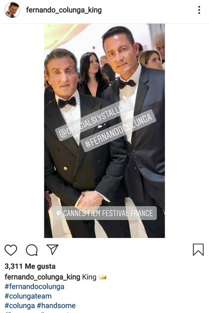 En mayo de 2019, Colunga asistió al Festival de Cine de Cannes, donde convivió con Sylvester Stallone (Foto: Captura de pantalla)