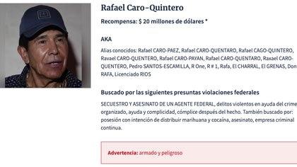 Rafael Caro-Quintero se convirtió en el narco más buscado por la Agencia de Administración de Control de Drogas de Estados Unidos (Foto: dea.gov/fugitives)