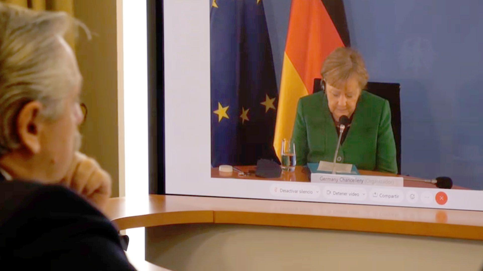 Alberto Fernandez con Angela Merkel captura