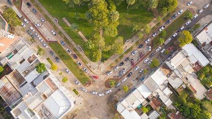 Movilización de esta semana en Avellaneda y Reconquista, norte de Santa Fe (Foto: Hexarg Aerocam-Pablo Lupa)
