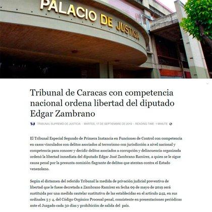 Comunicado del Tribunal Supremo de Justicia de Venezuela