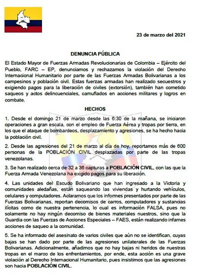 El comunicado de las FARC