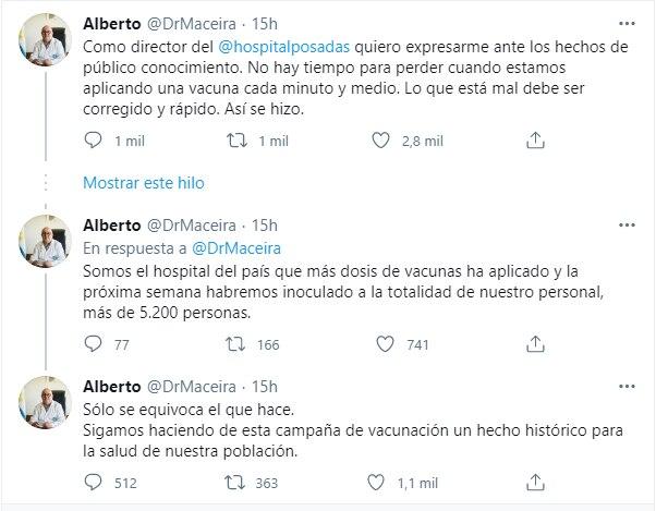 Twitter Alberto Maceira, Hospital Posadas