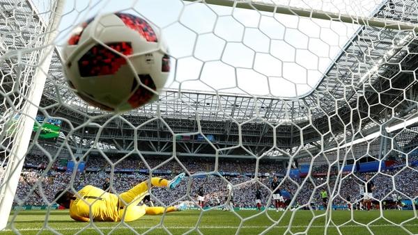 Postal del gol de Ángel Di María para la selección argentina ante Francia