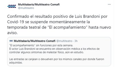 El comunicado del Multiteatro sobre la salud de Luis Brandoni (Foto: Twitter)