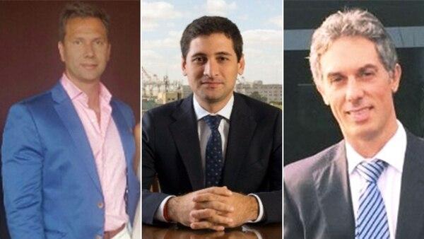 """Leandro Rodríguez, dueño de Reportes Online, Daniel Courmanián, el """"cuevero"""" que manejaba el dinero, y Pablo Degano, empleado de Rodríguez"""