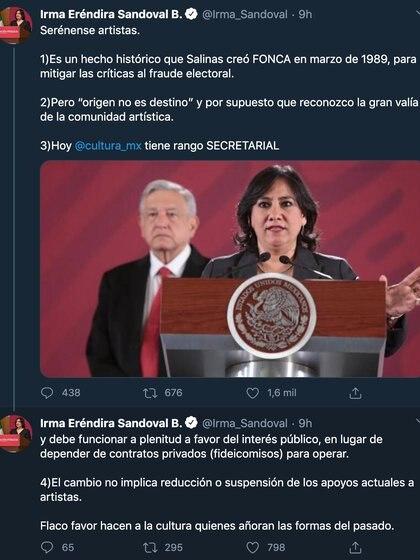 Irma Eréndira Sandoval se pronunció ante la gran cantidad de reacciones negativas Foto: Twitter @Irma_Sandoval